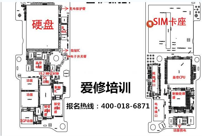 苹果iphone se主板元件分布图 - 爱修培训中心
